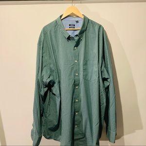 Izod No-Iron Green Gingham Button Down Shirt 4XLT